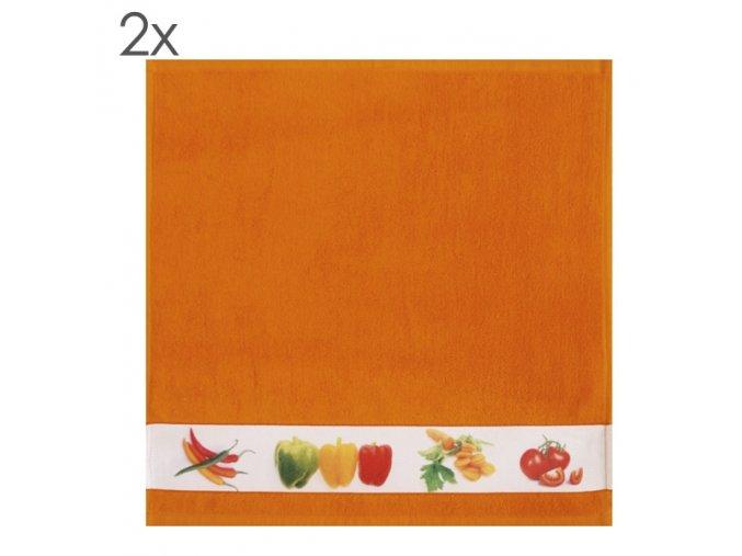 Kuchyňský ručník Vegetables, set 2 ks 50 x 50 cm oranžový Framsohn