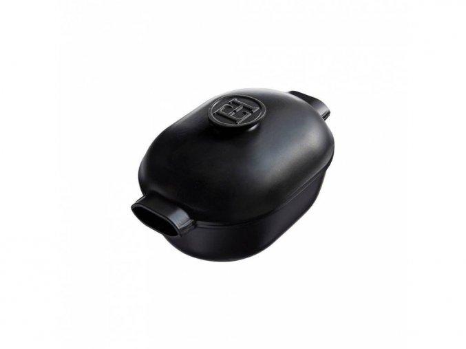 Emile Henry keramický oválný hrnec DELIGHT na indukci se samopodlévací poklicí, černý 4,5 l