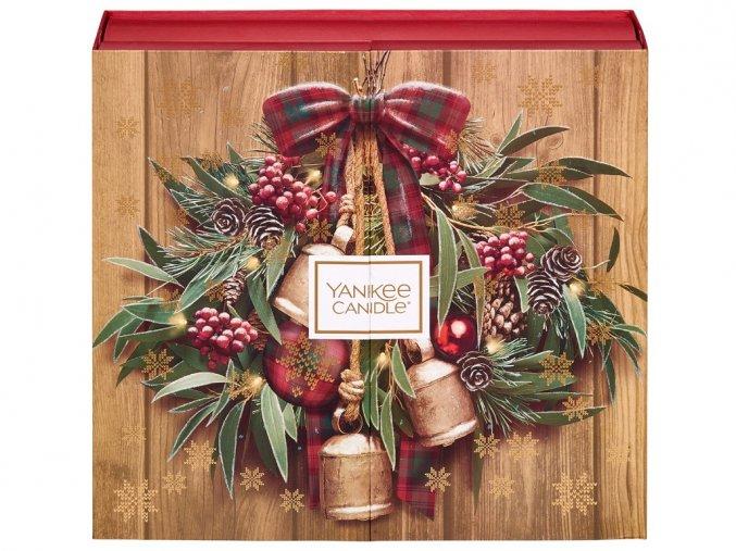 Yankee Candle dárková sada ADVENTNÍ KALENDÁŘ KNIHA 12ks čajová svíčka + 12ks votivní svíčka + svícen