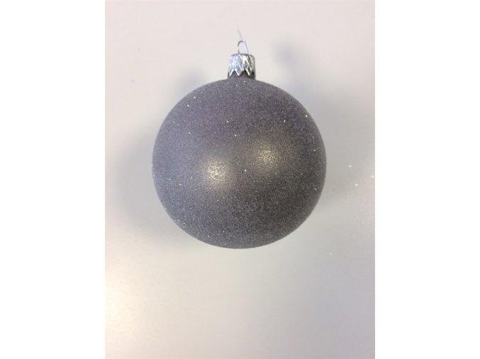 Vánoční koule 8 cm celoposyp šedá se třpytem