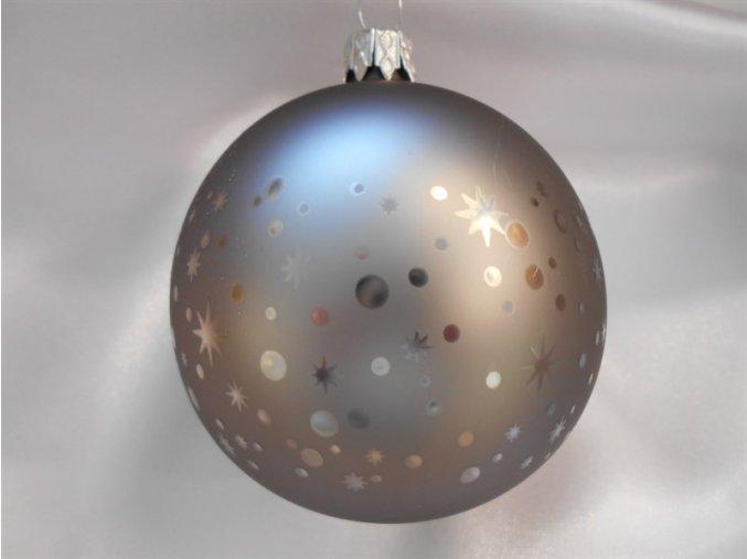 Vánoční koule 8 cm dekor hvězdy,tečky, pepřová