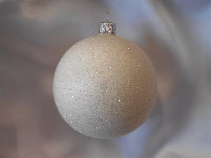 Vánoční koule 10 cm celoposyp krémová se třpytem