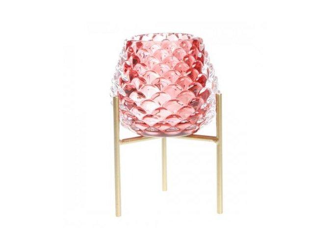 Svícen šiška na stojánku skleněný, růžový v. 13 cm Apotek