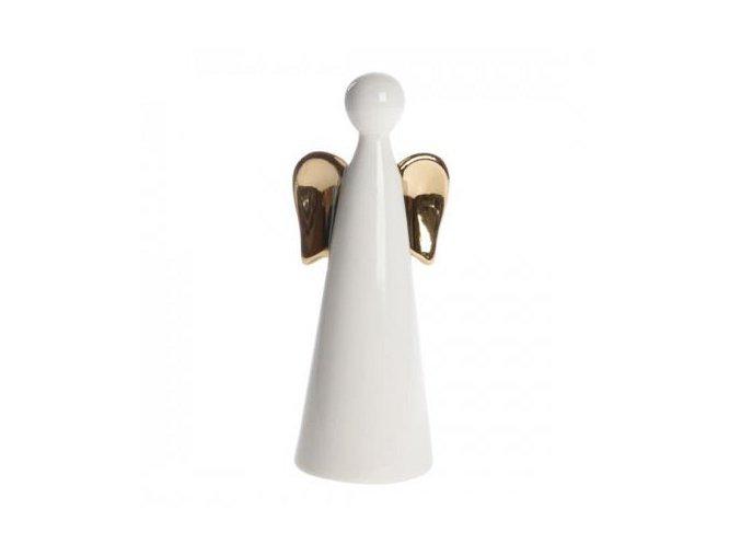 Anděl porcelánový bílý,zlatý v. 16 cm Apotek
