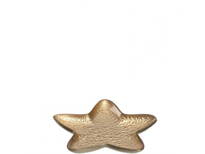 Tác skleněný hvězda zlatý 31 cm Leonardo