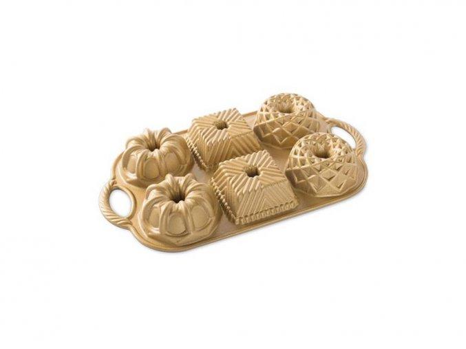Forma na mini bábovky CATHEDRAL, BAVARIA, JUBILEE plát se 6 formičkami, zlatá Nordic Ware