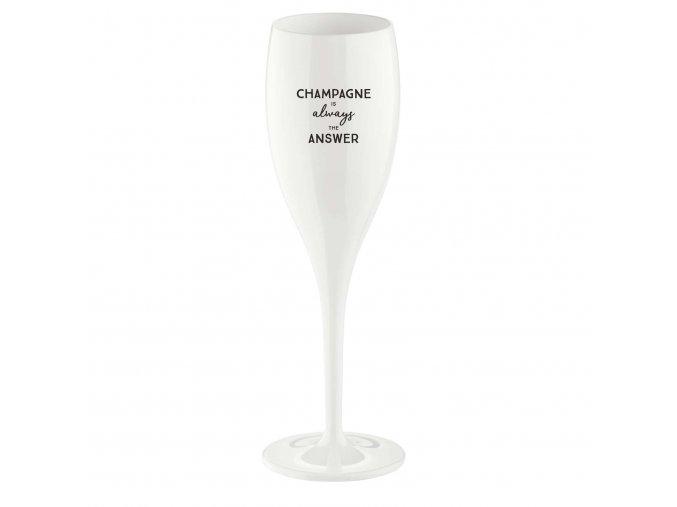 Sklenička CHEERS 100 ml, bílá s potiskem Champagne is always the answer, Koziol