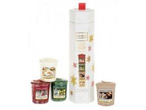 Dárková sada vánoční 4 ks vonných votivních svíček Yankee Candle