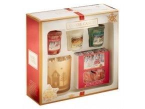 Dárková sada vánoční 3 ks vonných votivních svíček, 1 bal. čaj. svíček a svícen Yankee Candle