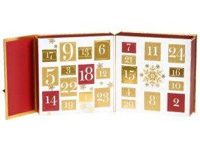 Dárková sada vánoční adventní kalendář 3D čajová svíčka 12 ks + 12 ks votiv