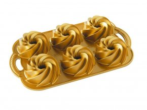Forma na mini bábovky plát se 6 formičkami zlatá Nordic Ware