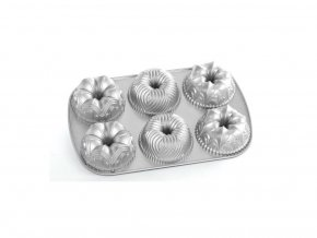 Forma na mini bábovky CATHEDRAL, LILIE, BAVARIA plát se 6 formičkami stříbrnáNordic Ware