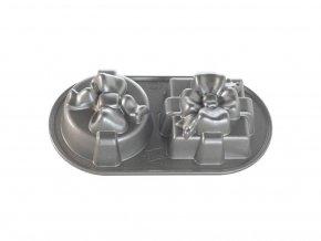 Forma Dárek plát se 2 formičkami stříbrná Nordic Ware
