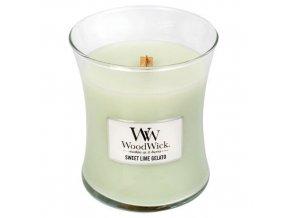 WoodWick svíčka sklo střední SWEET LIME GELATO