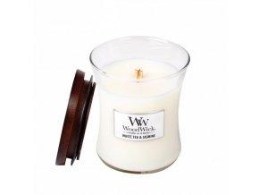 WoodWick vonná svíčka sklo malé WHITE TEA & JASMINE