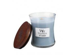 WoodWick vonná svíčka sklo malé SOFT CHAMBRAY