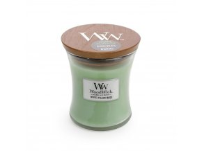 WoodWick vonná svíčka sklo malé WHITE WILLOW MOSS