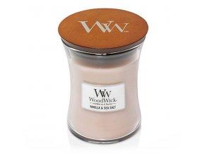 WoodWick vonná svíčka sklo střední VANILLA & SEA SALT