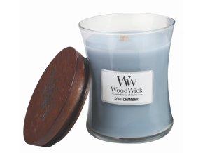 WoodWick vonná svíčka sklo střední SOFT CHAMBRAY