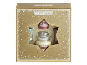 Yankee Candle vánoční dárková sada 3ks votiv + 1ks svíčka classic malý