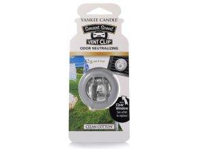 YANKEE CANDLE vonný clip do auto ventilace vůně Clean Cotton
