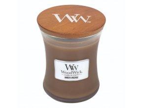 WoodWick vonná svíčka sklo střední AMBER & INCENSE