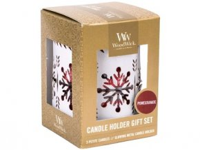 WoodWick dárkový set svícen + 3ks petite White Snowflake Pomegranate