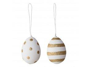 Dekorační vajíčko závěsné set 2 ks bílá,zlatá Bloomingville