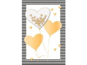 Přání ražené s obálkou balónky srdce zlaté Artebene