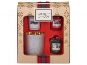 Yankee Candle dárková sada vánoční 3 ks votivní svíčka + svícen