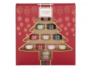 Yankee Candle dárková sada vánoční 10 ks čajová svíčka + svícen