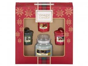 Yankee Candle dárková sada vánoční 1 ks svíčka Classic malý + 3 ks votivní svíčka
