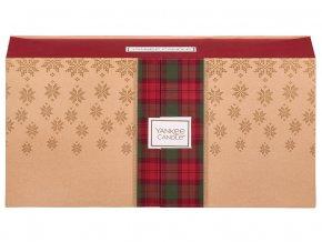 Yankee Candle dárková sada vánoční 1 ks svíčka Classic malý + 2 ks votivní svíčka + 2 ks vonný vosk + 12 ks čajová svíčka