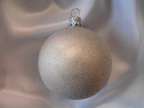 Vánoční koule 8 cm celoposyp pepřová se třpytem