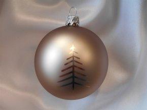 Vánoční koule 8 cm dekor stromek, světle hnědá