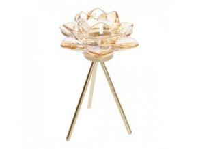 Svícen květ na stojánku skleněný, zlatý v. 18 cm Apotek