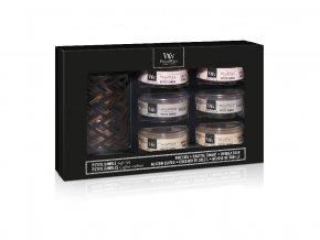 WoodWick dárkový set Deluxe 6 ks svíčka petite + svícen