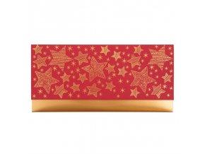 Dárková obálka přání 23 x 11 cm vánoční hvězdy červená,zlatá Artebene
