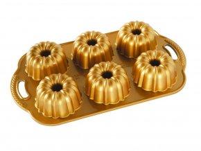 Forma ANNIVERSARY na mini bábovky plát se 6 formičkami, zlatá Nordic Ware