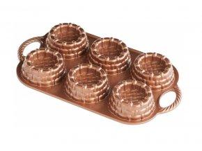 Forma na košíčky plát se 6 formičkami, měděná Nordic Ware