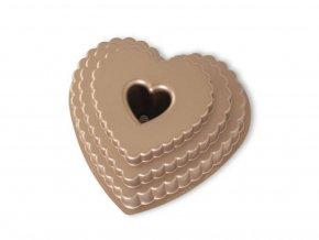 Forma na bábovku patrové srdce 12 cup, karamelová Nordic Ware