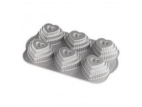 Forma vrstvené srdíčko plát se 6 formičkami, stříbrná Nordic Ware