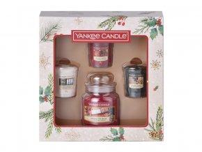 Yankee Candle dárková sada vánoční 1 ks classic malý + 3 ks votivní svíčka