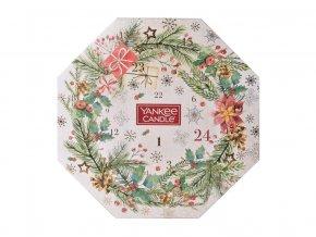 Yankee Candel dárková sada Adventní kalendář věnec 24 ks čajová svíčka + svícen