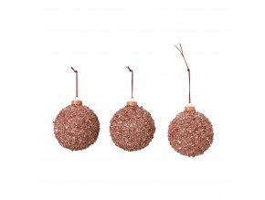 Vánoční ozdoba,koule 8 cm set 3 ks, růžová Broste