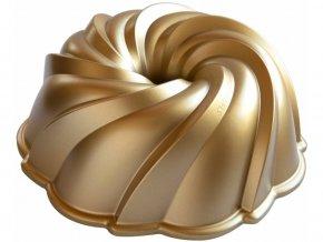 Forma na bábovku VODNÍ VÍR 10 cup, zlatá Nordic Ware