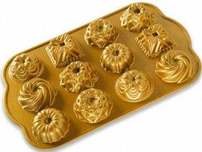 Forma na 12 ks minibábovek 1,2 cup, zlatá Nordic Ware