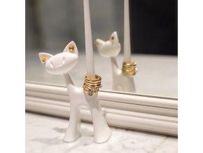 drzak na prsteny kocka MIAO bílý