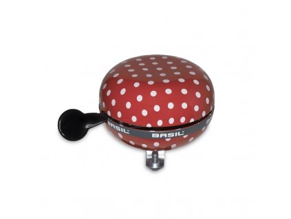 zvoncek na bicykel s bodkovanym vzorom basil big bell polkadot v