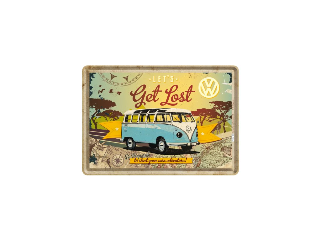 Plechová Pohľadnica VW Let's Get Lost